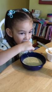 mylee eating soup