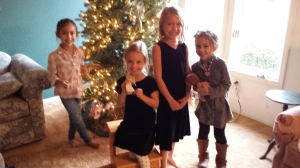 Kaiya, Magnolia, Dagny, and Mylee help me decorate my angel tree early this year.