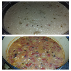 New England Clam Chowder and Manhattan Clam Chowder. Yum.