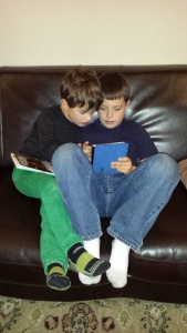 Joseph and Alastair deeply absorbed in, well, something.