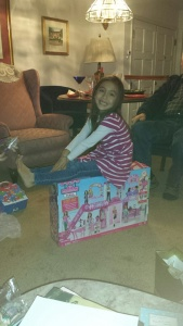 Kaiya is very happy with her Barbie mall.