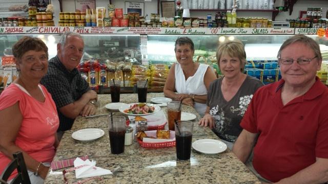 Bec, Bill, Kris, Marilyn, and Roger enjoying Guidos.