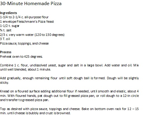 homemade 30 min pizza