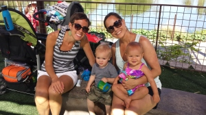 Visiting the zoo L-R, Maggie's friend Allison, the child she babysits Cole, Maggie, and Lilly