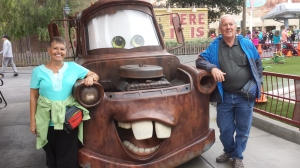 We elbowed our way past a few children to get our picture taken with Mater. Oh don't be horrified. I'm just kidding.