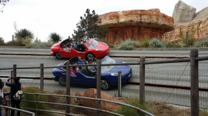 "Cars ""race"" at the Radiator Springs Road Rally"
