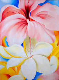 Hibiscus with Plumeria, by Georgia O'Keeffe