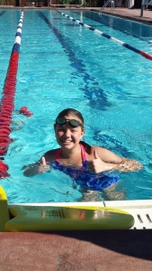 Addie in pool