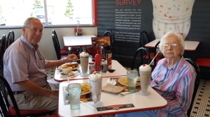 Bill and Wilma enjoy lunch and a chocolate milkshake at Steak N Shake.