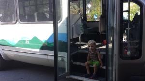 Micah sitting bus