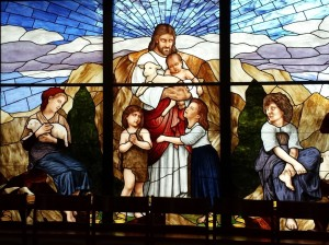 I love this stained glass window at the back of the children's room at St. Thomas More Catholic Church in Centennial.