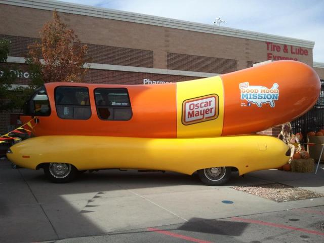 I took this photo of the Weinermobile outside of our neighborhood Walmart.