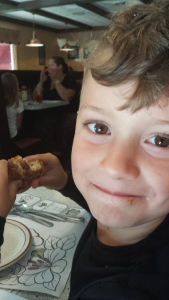 Joseph enjoyed a cinnamon donut during our visit to Vermont.