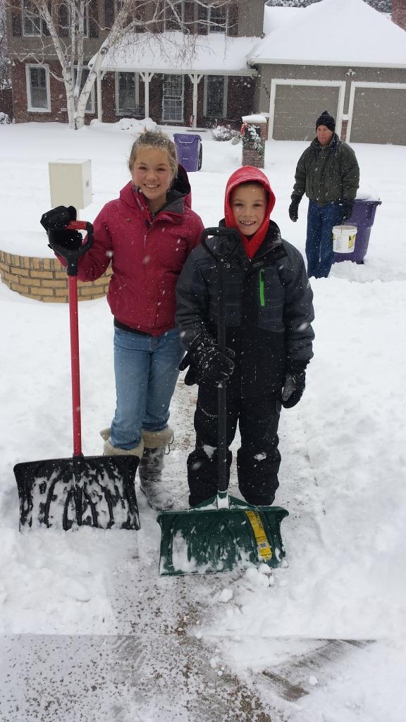 Addie Alastair shoveling snow