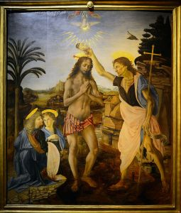 The Baptism of Christ by Andrea del Verrocchio and Leonardo da Vinci.