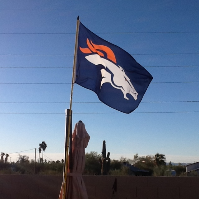 Bronco flag in the desert