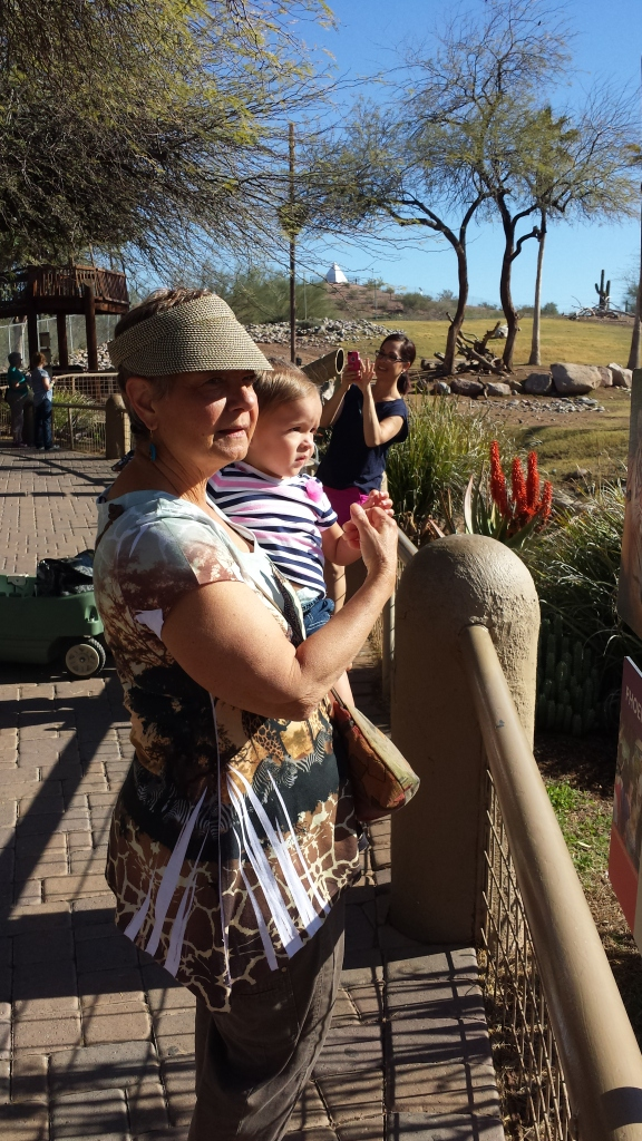 Lilly and Aunt Bec check out the African savannah.