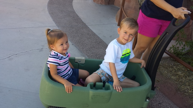 Lilly and Austin can't take their eyes off one of the animals.