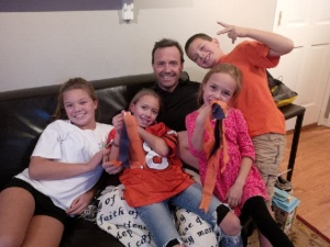Addie, Dagny, Maggie, Alastair and Allen root for the Broncos.
