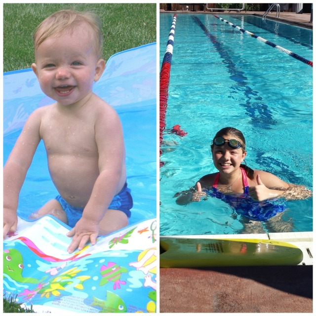 Addie in pool collage