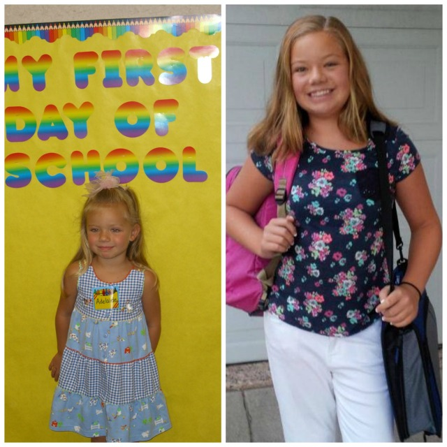 Addie's first day at school collage