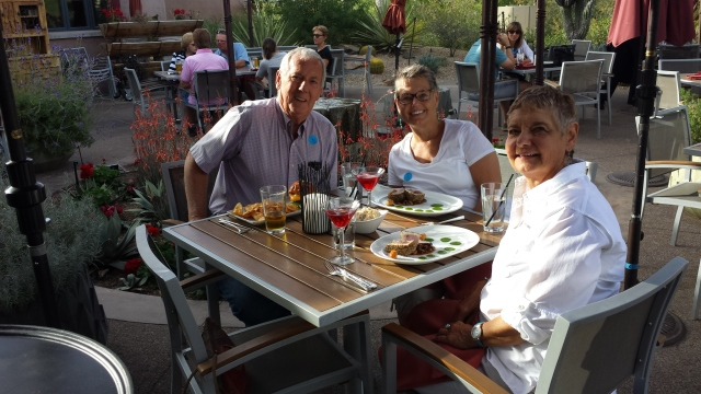 Bill, Bec, and I enjoyed a yummy dinner on the patio.