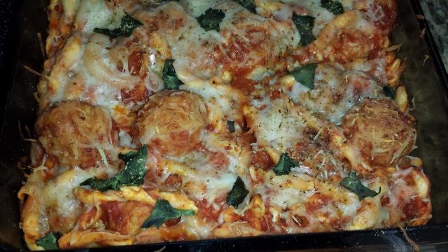 chicken parmesan meatball casserole