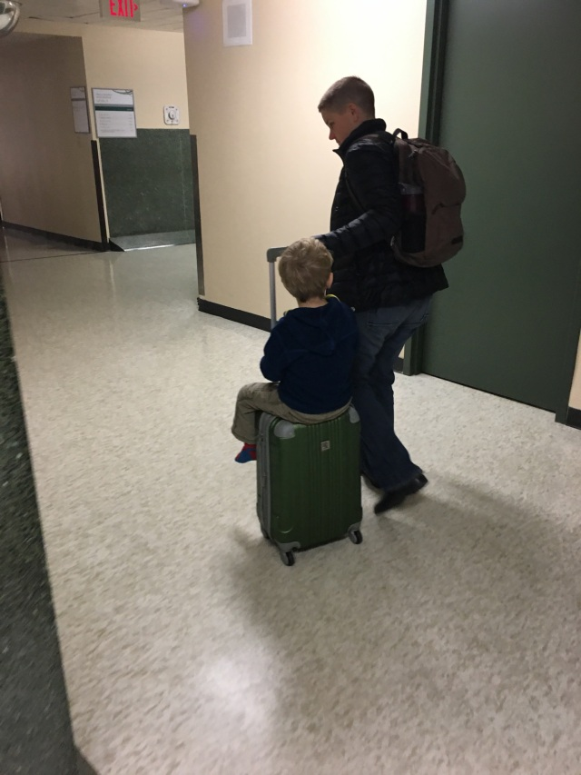 Getting a ride to the car from his Mom as he leaves the hospital on Tuesday.