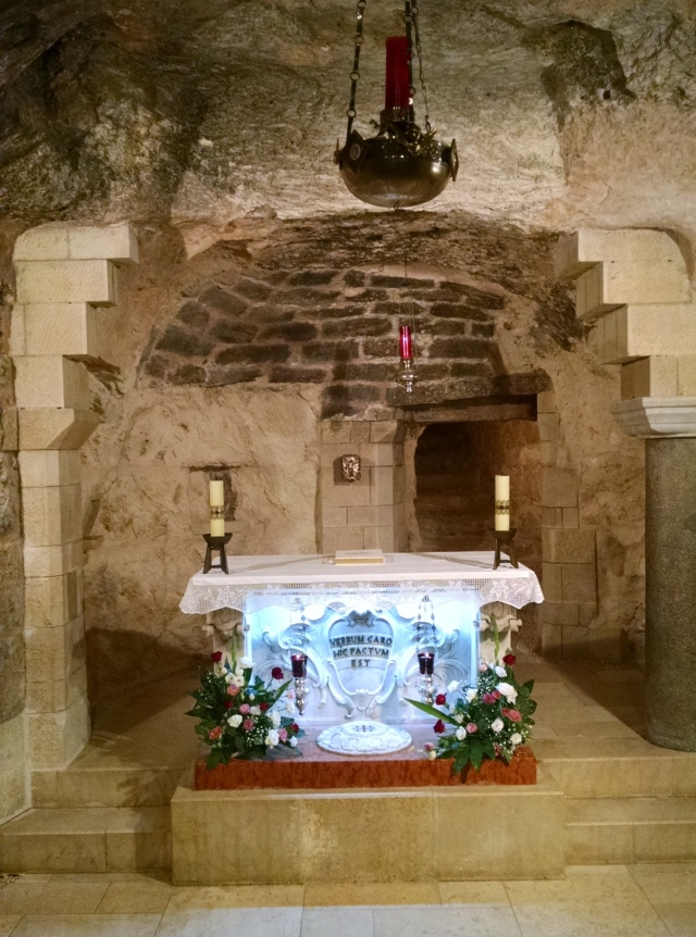This is a grotto located below the church where the Holy Family is thought to have lived.