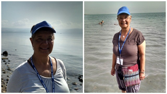 Wading in the Sea of Galilee (left) and standing on the banks of the Jordan River.