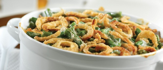 I found this photo on Campbell Soup's web page. It looks like nobody's green bean casserole ever.