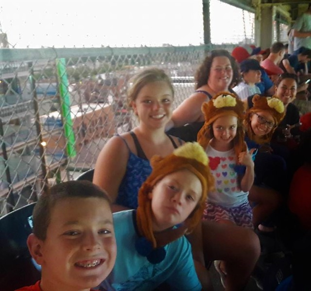 Dagny and most of the rest of the family attended a Cubs game in Chicago this summer, and proudly wore Cubs hats.