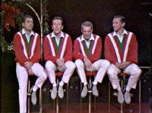 Singer Andy Williams and his brothers proudly wear their Christmas sweaters. Admittedly, this was back in the 1960s.