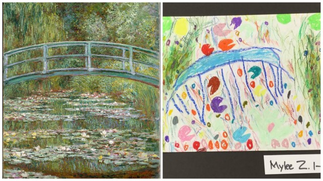 collage-bridge-over-a-pool-of-water-lillies